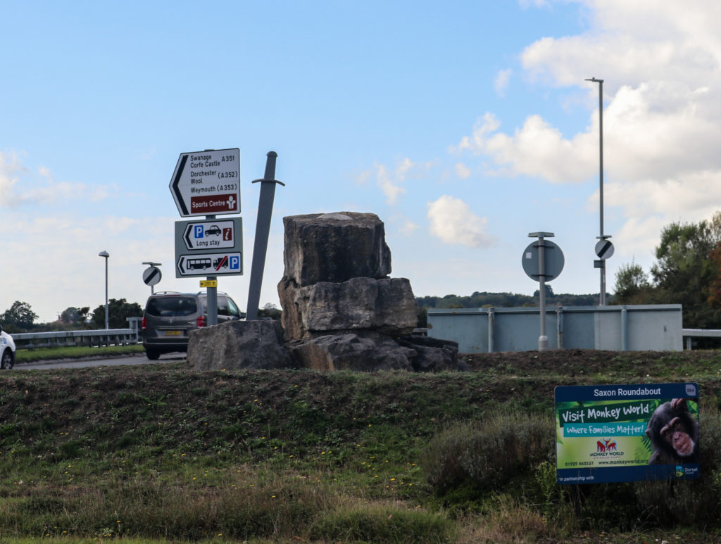 Saxon roundabout with sword in Wareham