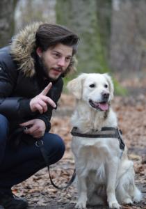 Man and Golden Retriever dog