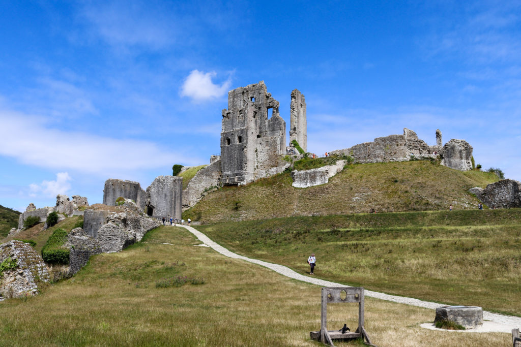 Pathway and stocks at Corfe Castle