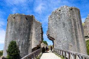 Entrance path to Corfe Castle ruin