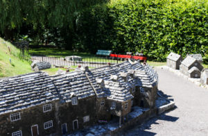 Corfe Castle model village East Street and train in miniature