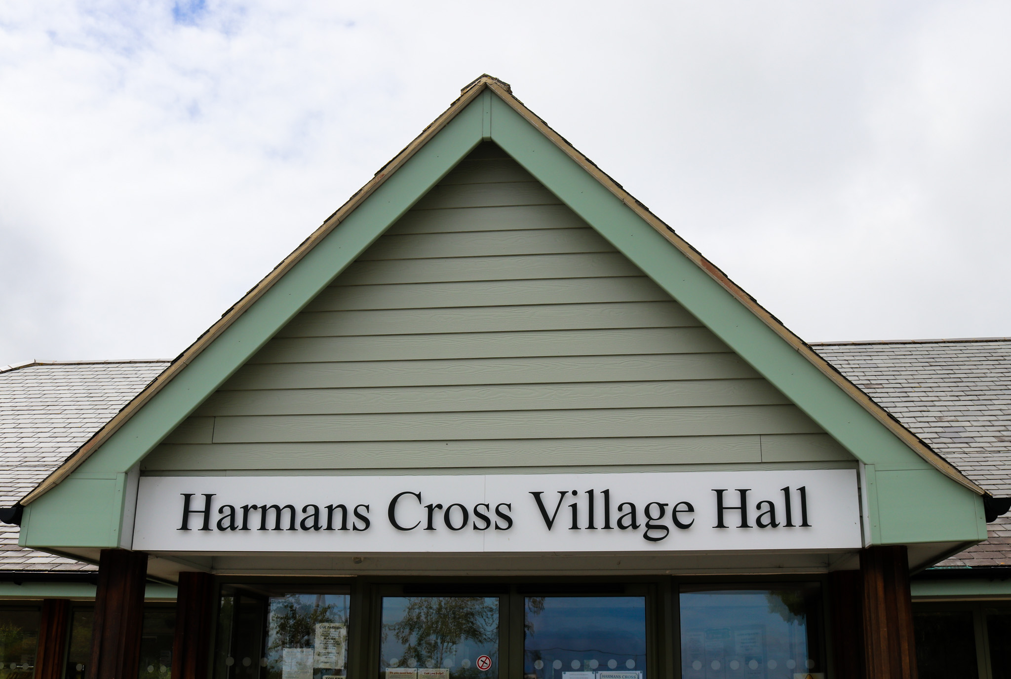 Harman's Cross village hall sign