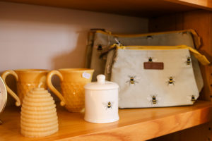 Mugs and bags shop display in East Lulworth