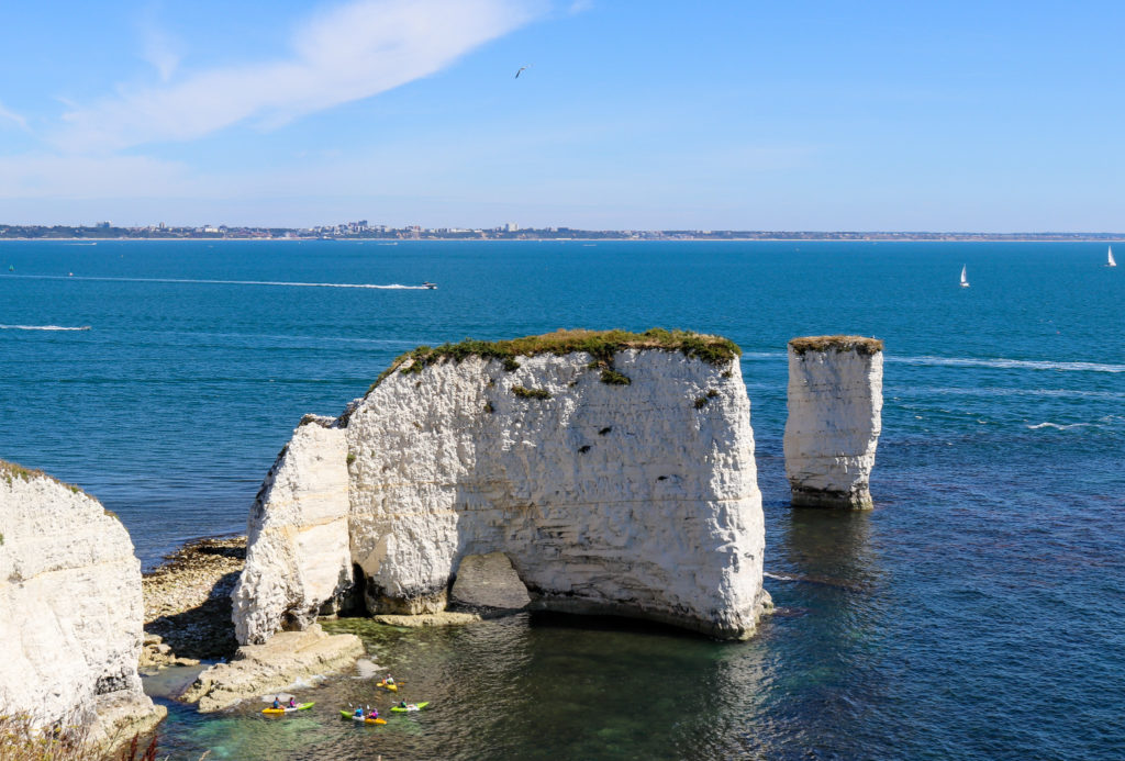 Kayakers at Old Harry Rocks