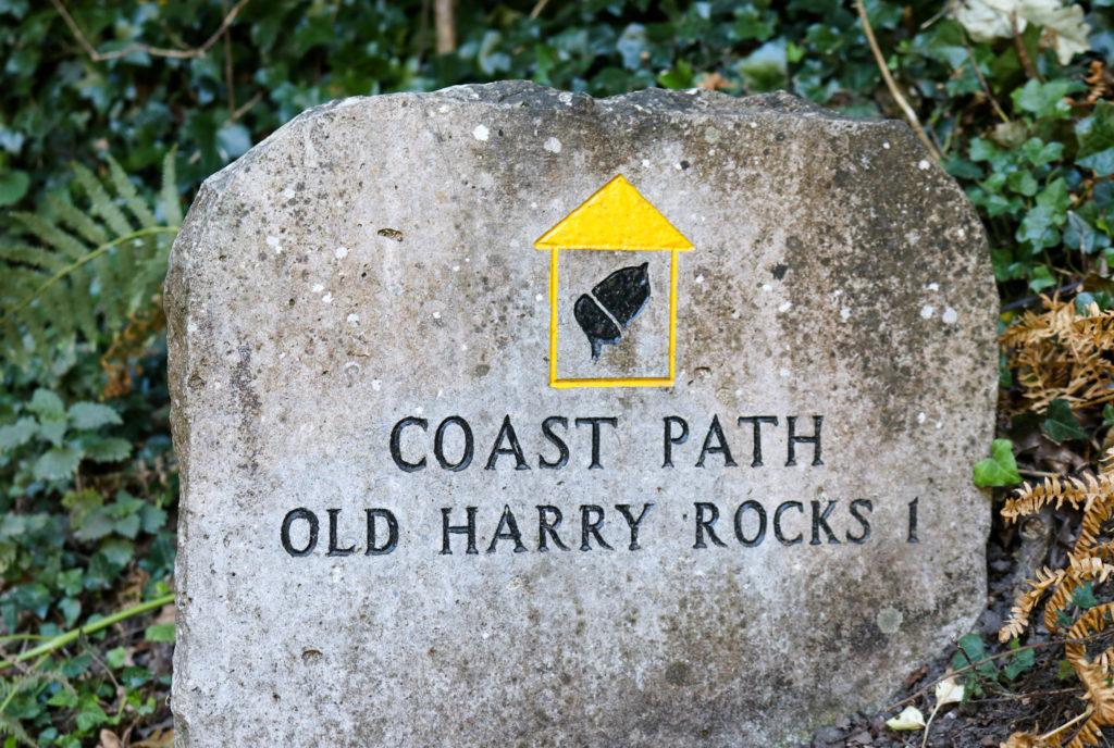 Coast path sign at Old Harry Rocks