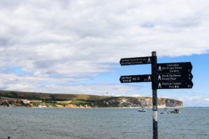 Signs at Swanage Bay with Ballard Down in the distance