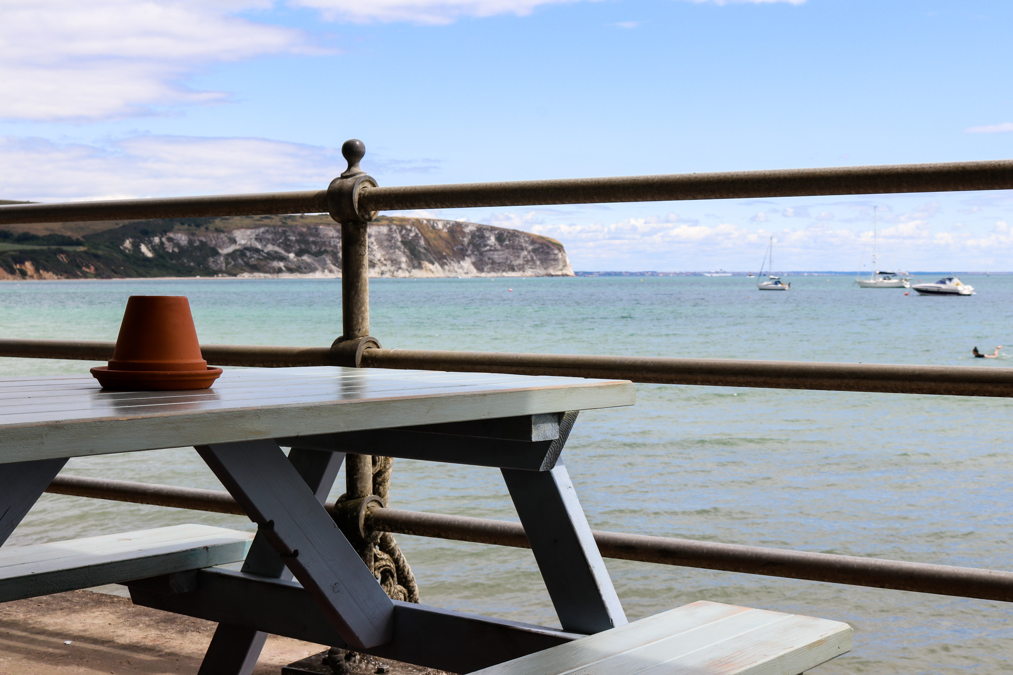 Table overlooking the sea at the Cellar Bar in Swanage
