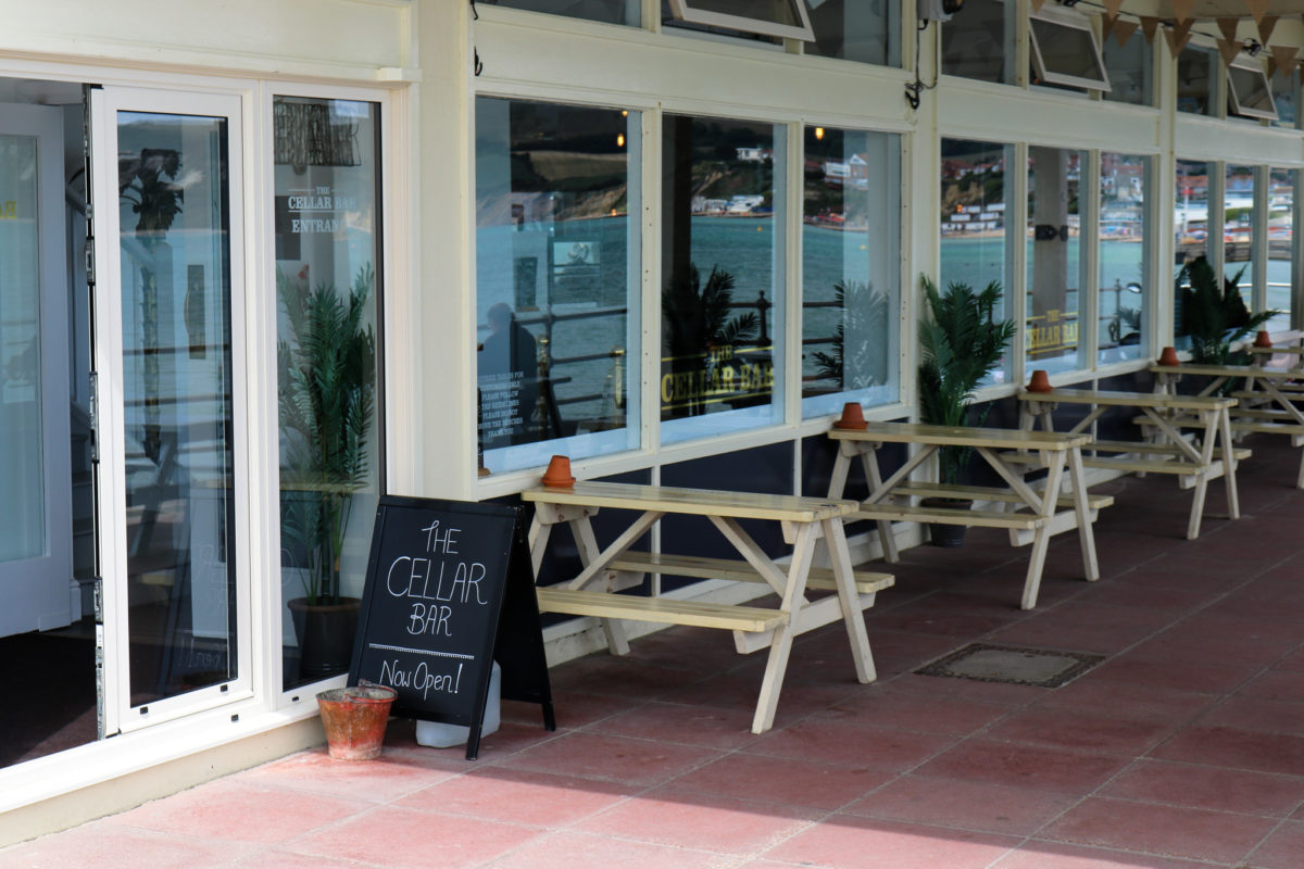 Seating outside the Cellar Bar in Swanage