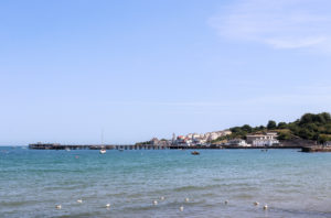 View of Swanage Pier across the sea