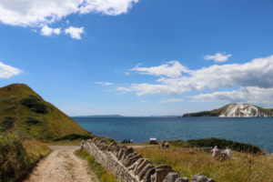 Road leading to Worbarrow Bay with Worbarrow Tout at the end