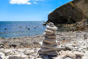 Rock sculpture on Pondfield Cove beach near Worbarrow Bay