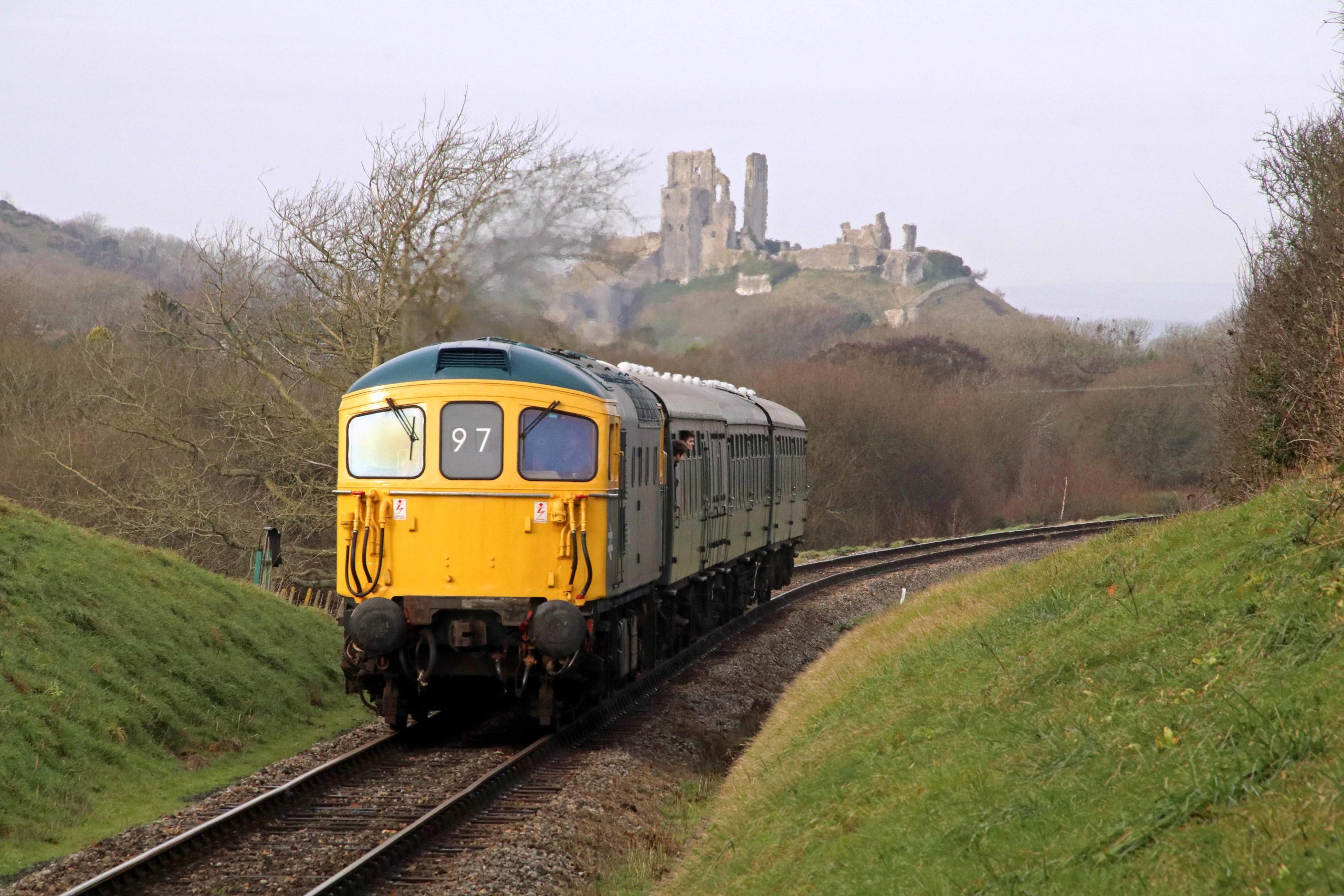 Class 33 No. 33 111 on Swanage Railway by Corfe Castle