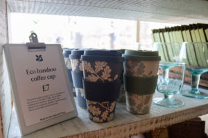 Eco bamboo reusable cups on display in Corfe Castle shop