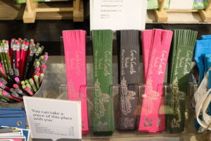 Pencils and bookmarks for sale in the National Trust shop in Corfe Castle