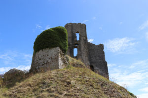 Section of Corfe Castle from underneath hill