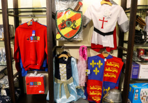 Medieval fancy dress merchandise in the National Trust shop in Corfe Castle