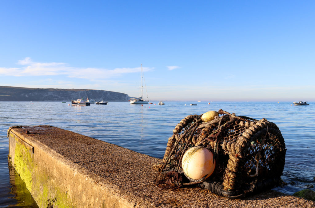 Lobster pot by Peveril Point at Swanage Bay