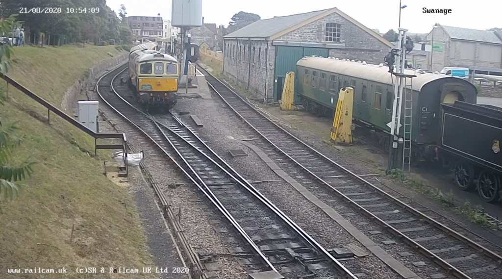 Screenshot Swanage Station webcam with yellow train
