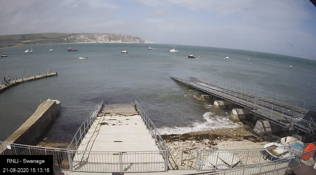 Webcam showing Swanage Bay from Swanage Lifeboat Station