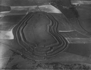 Aerial shot of Maiden Castle, Dorchester