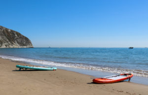 Paddle boards on the beach at Swanage