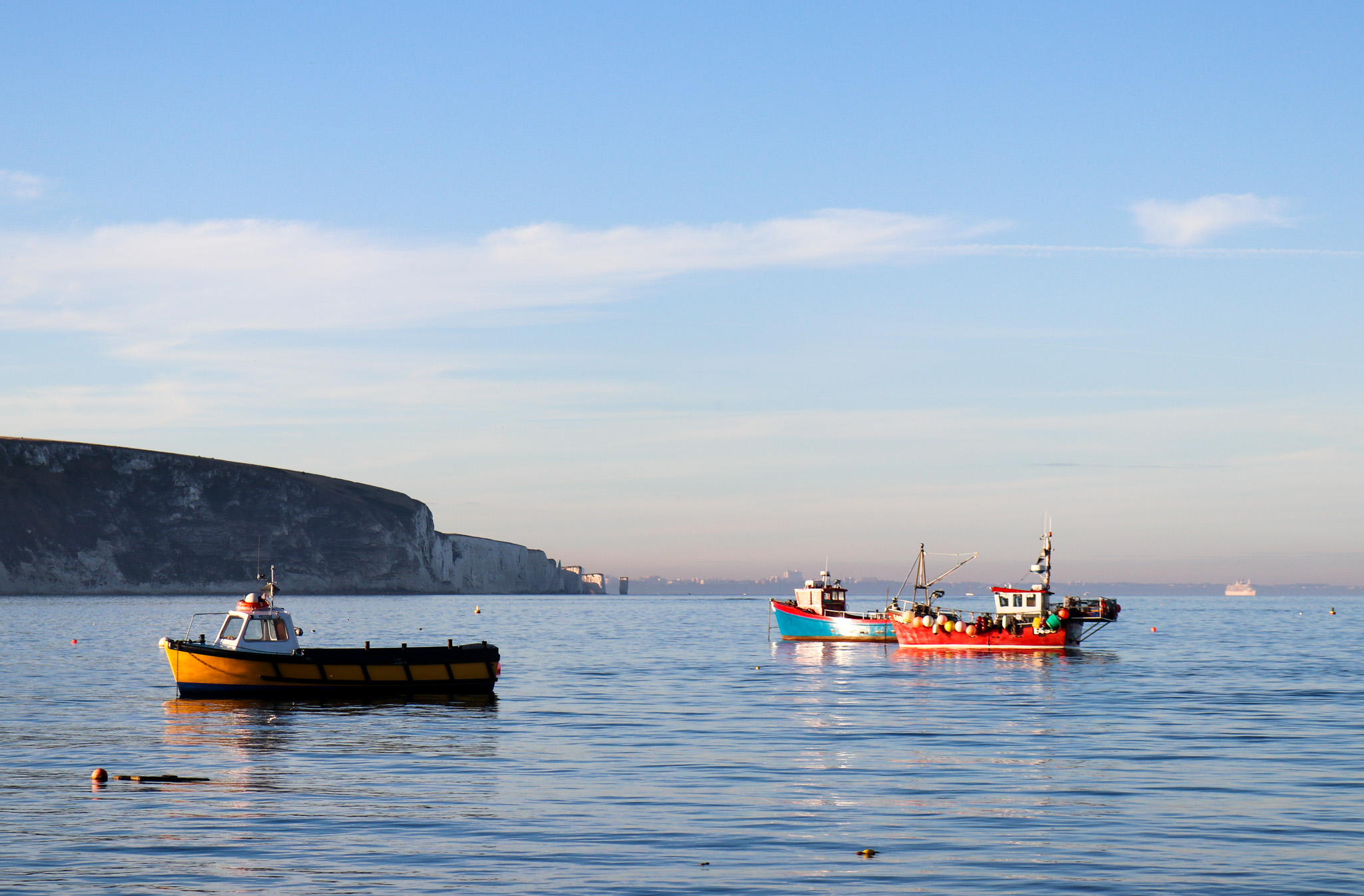 Fishing boats in Swanage Bay