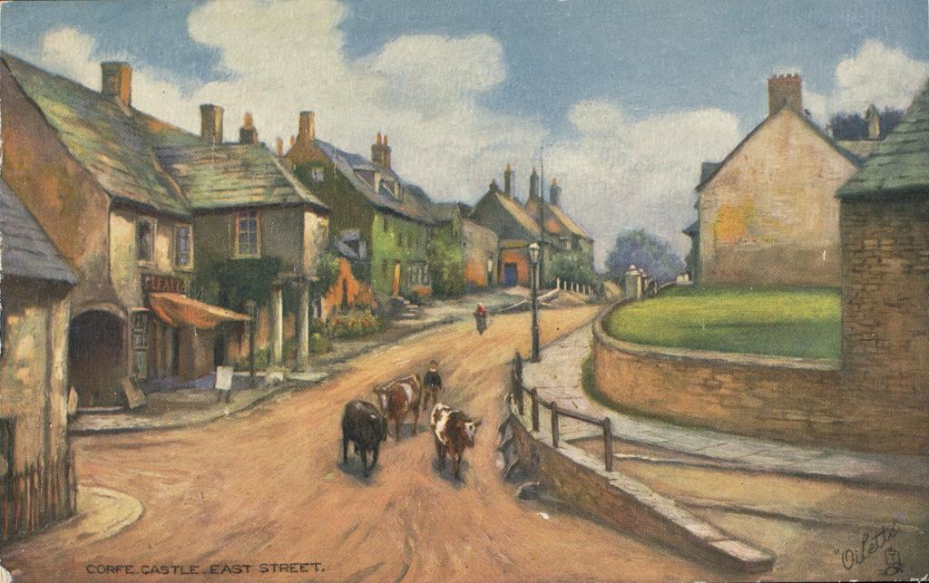 Vintage postcard depicting cattle on East Street in Corfe Castle