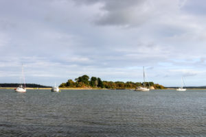 View of island and boats from Arne beach