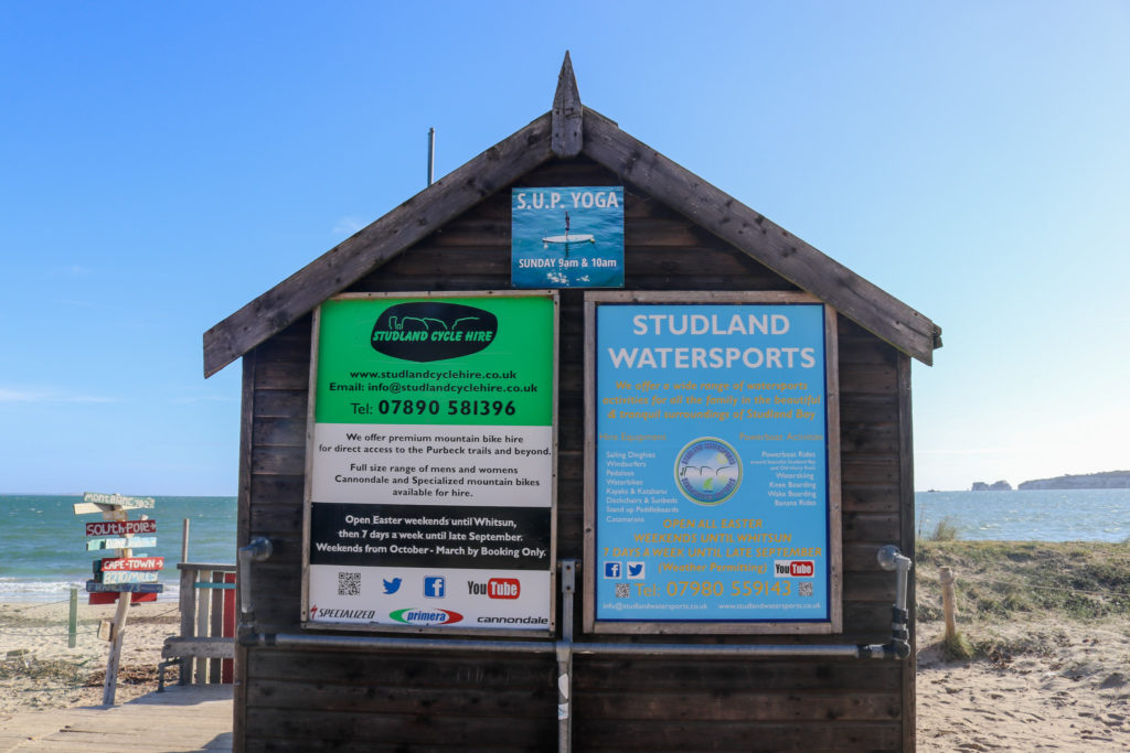 Watersports hut at Knoll Beach in Studland