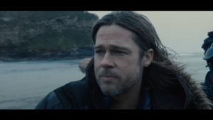 Brad Pitt in speedboat at Lulworth Cove for World War Z film