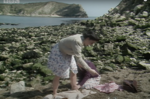 Still from Doctor Who The Curse of Fenric showing Lulworth Cove