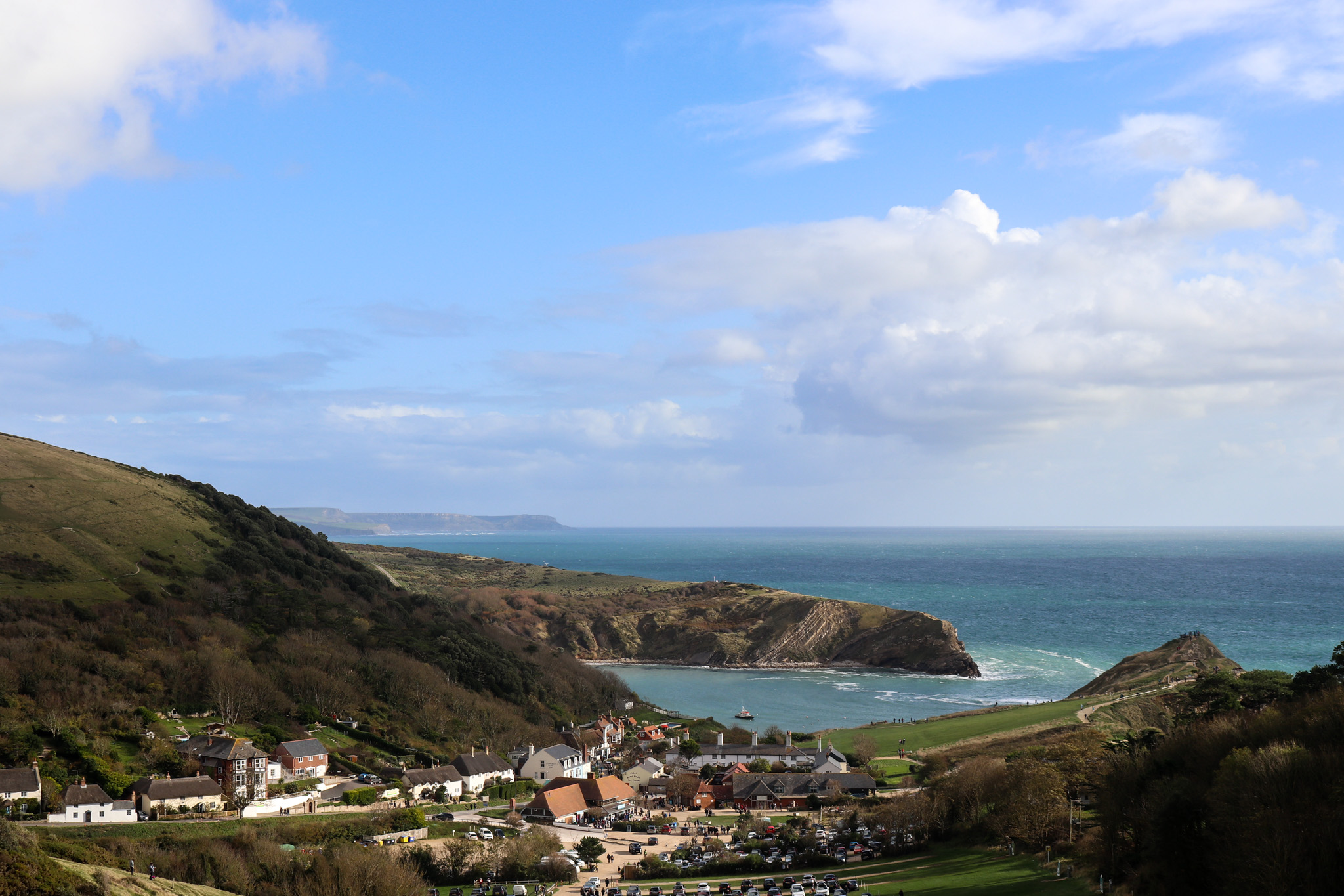 Lulworth Cove bay and village viewed from the path to Durdle Door