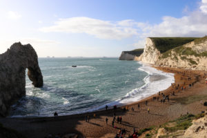 Visitors exploring Durdle Door beach