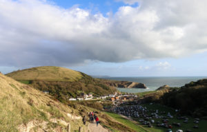 View of Lulworth car park from Durdle Door path