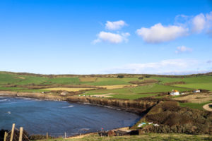 Kimmeridge Bay viewed from the steps up to Clavell Tower