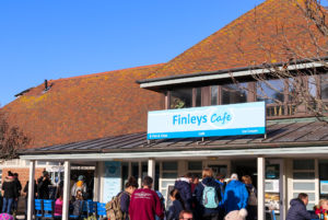 People milling around outside Finlay's café in West Lulworth