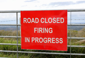 Lulworth ranges warning sign near Tyneham