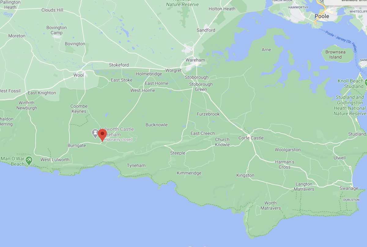 Google Maps showing where East Lulworth is
