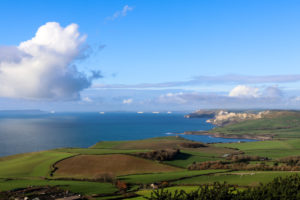View from Swyre Head looking toward Clavell Tower in Kimmeridge