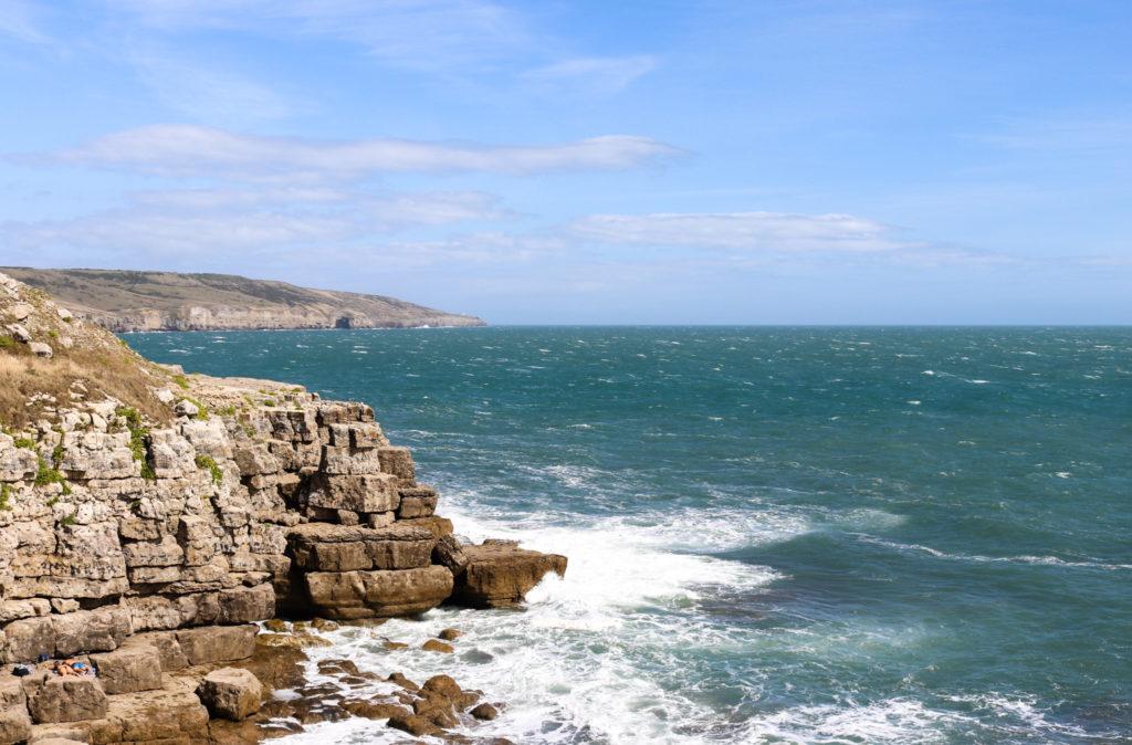Waves crashing on rocks at Winspit