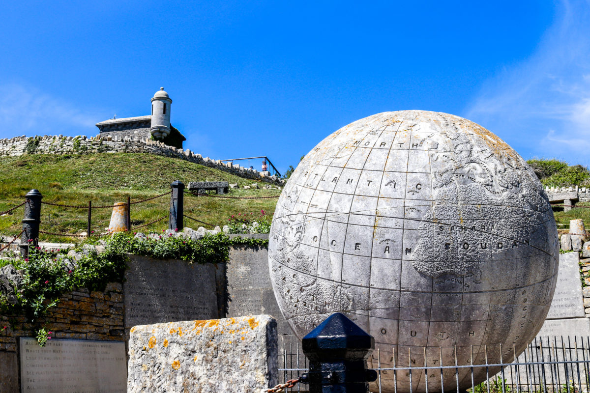 The globe at Durlston Country Park below Durlston Castle