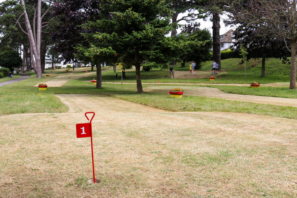 First hole of Beach Gardens' pitch and putt in Swanage