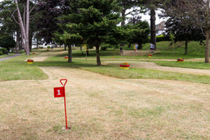 First hole of Swanage Beach Gardens' pitch and putt in Swanage