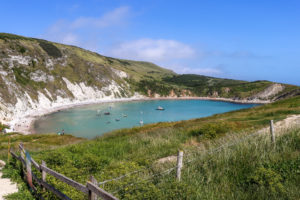 Lulworth Cove viewed from the path at Stair Hole