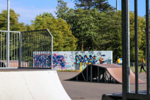 Skate ramps and graffiti wall at King George's park, Swanage