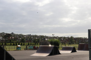 Skate ramps and play equipment at Swanage skate park