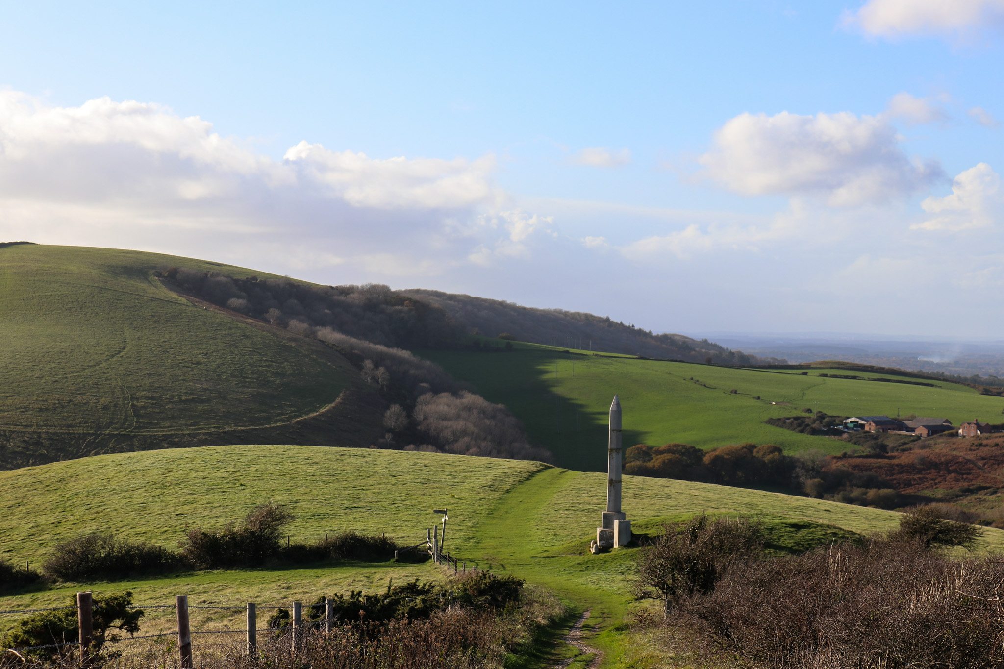 Looking back down on the Swanage obelisk from cliff path
