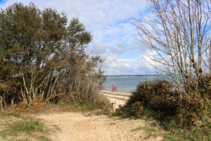 Couple walking on Studland Bay's Middle Beach