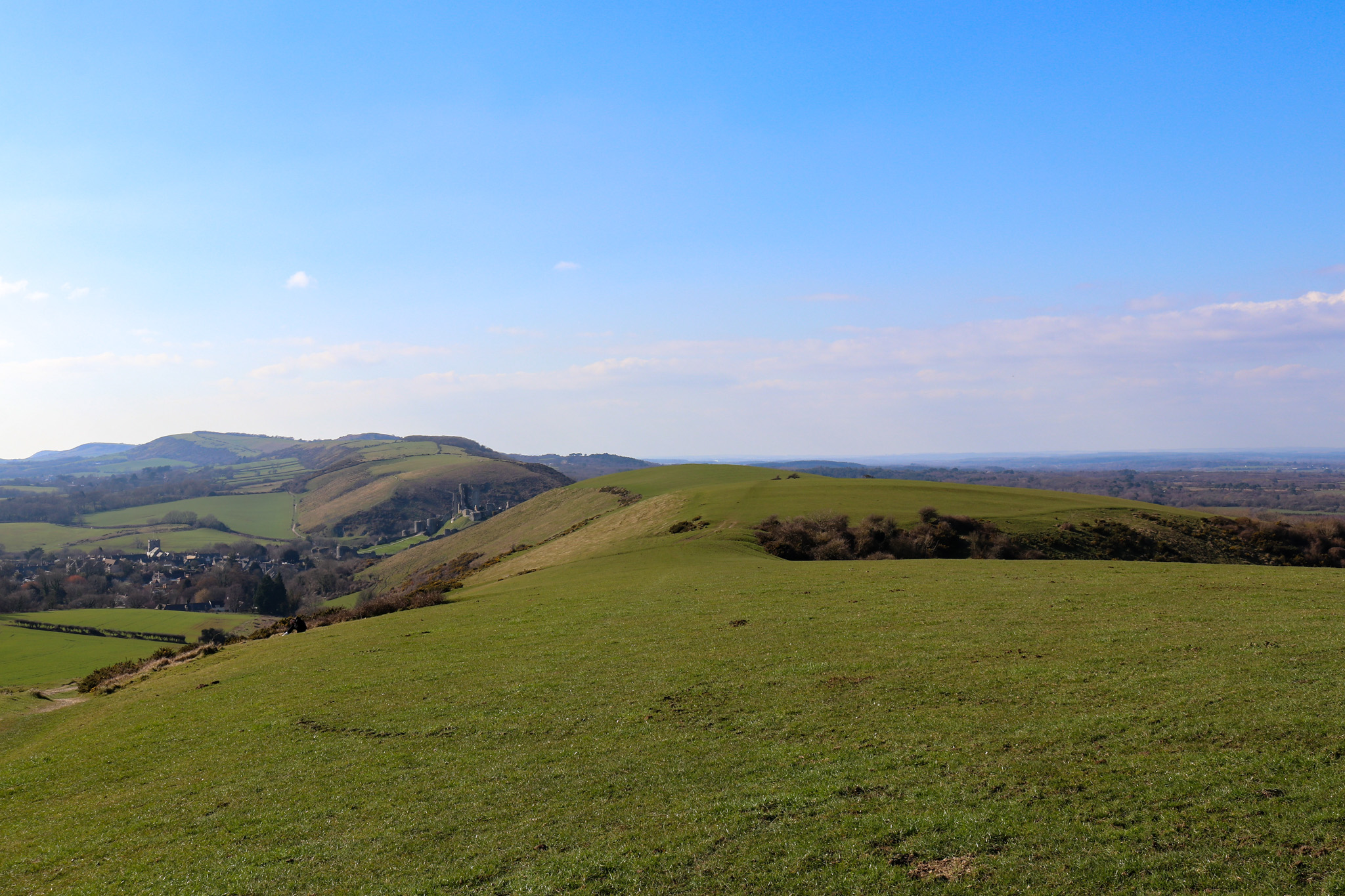 The Purbeck Ridgeway looking toward Corfe Castle and village