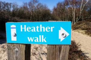 Blue and white sign for Studland Heath heather walk